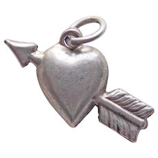 Sterling Puffy HEART & ARROW 1940s Vintage Estate Charm