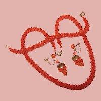 Fabulous Antique Red Mediterranean Coral Woven Necklace Bracelet & Earrings