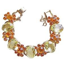 Fabulous D&E JULIANA Amber & Yellow Rhinestone Vintage Bracelet