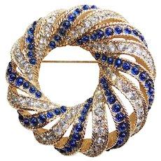Fabulous BOUCHER Signed Blue Stones & Rhinestone Vintage Brooch - Mogul Moghul