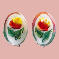 Reverse Carved Lucite Yellow & Red Rose Vintage Estate Earrings