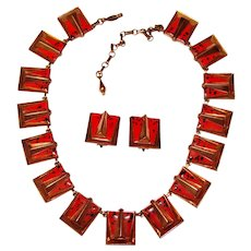 Fabulous MATISSE Red Enamel Copper Necklace Set - Vintage Signed