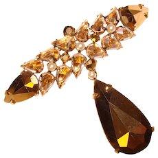 Fabulous Huge POINT SIDE UP Vintage Clear Crystal & Aurum Rhinestone Brooch