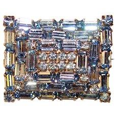 Gorgeous ICY BLUE Vintage Baguette Rhinestones Brooch