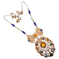 Fabulous ART DECO Colored Glass Stones Estate Necklace