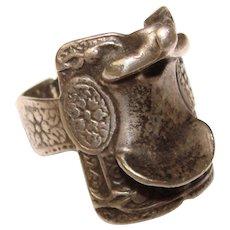 Awesome STERLING Vintage Saddle Design Ring
