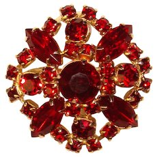 Fabulous RED RHINESTONE Vintage Brooch