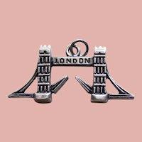 800 Silver LONDON BRIDGE Vintage Estate Charm - Souvenir of England