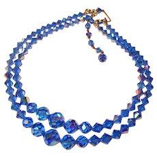 Fabulous BLUE AURORA CRYSTAL 2 Strand Vintage Estate Necklace