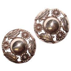 Fabulous DENMARK STERLING Vintage Ornate Clip Earrings