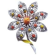 Awesome ART Signed Vintage Enameled Flower Brooch