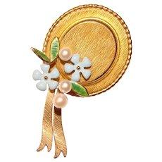 Beautiful KREMENTZ Signed Pearl & Enamel Hat Design Brooch