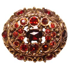 Gorgeous HOLLYCRAFT Signed Red Rhinestone Accent Brooch