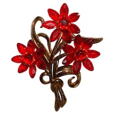 Fabulous 1940's Huge RED Flower Bouquet Vintage Brooch