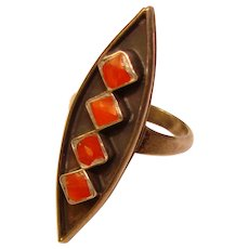 Gorgeous STERLING Coral Inlay Vintage Ring