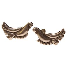 Fabulous Mexican Sterling BIRD Design Vintage Earrings