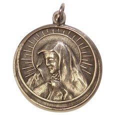 Sterling Miraculous Mary Vintage Charm Pendant Medal