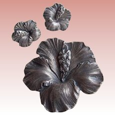 Fabulous CINI STERLING For Gumps Hibiscus Vintage Brooch Set