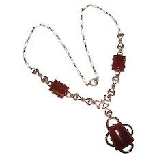 Fabulous ART DECO Sterling Carnelian Marcasite Necklace