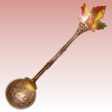 Awesome STERLING ENAMEL Maple Leaf Canada Salt Spoon