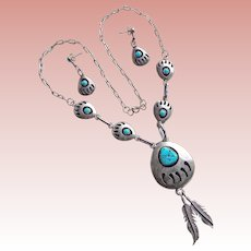 Fabulous STERLING & TURQUOISE Bear Claw Design Vintage Necklace Set