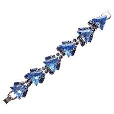 Fabulous BLUE RHINESTONE Triangle Stones Vintage Bracelet