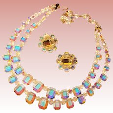 Fabulous AURORA CRYSTAL Emerald Cuts Vintage Necklace Set