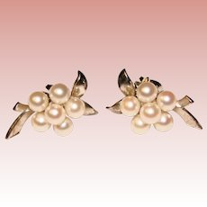 Fine MIKIMOTO Sterling & Cultured Akoya Pearl Vintage Estate Earrings - Pierced