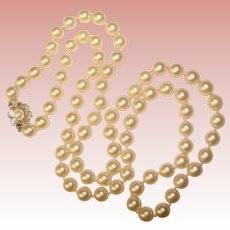 "Fine Cultured Akoya Pearl 14K Gold Clasp Vintage Necklace 30"" Long"