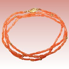 Fabulous 14K Coral Beads Vintage Necklace