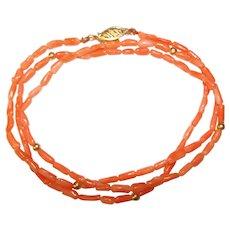 Fabulous 14K Coral Beads Vintage Necklace