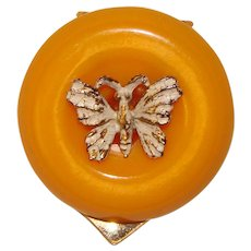 Awesome BAKELITE Butterfly Design Scarf Clip Brooch