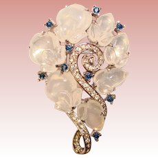 Fabulous TRIFARI Moonstone Glass Fruit Salad Stones Brooch