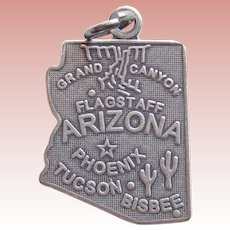 Sterling ARIZONA Vintage Estate Charm - State Souvenir