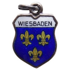 Vintage WIESBADEN 800 Silver & Enamel Charm - Souvenir of Germany