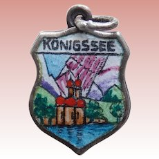 Vintage KONIGSSEE 830 Silver & Enamel Charm - Souvenir of Germany