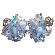 Gorgeous ROBERT Signed Blue Givre Glass Rhinestone Vintage Estate Earrings