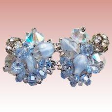 Gorgeous ROBERT Signed Blue Givre Glass Rhinestone Vintage Estate Earrings