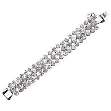 "Fabulous CLEAR RHINESTONE Vintage Estate Bracelet - Almost 3/4"" Wide"