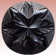 Gorgeous CARVED BAKELITE Large Black Vintage Estate Button