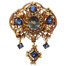 Fabulous CZECH Signed BLUE Glass Stones Vintage Brooch
