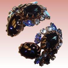 Fabulous HUGE Blue Rhinestone Vintage Clip Earrings