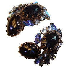 Fabulous HUGE Blue Rhinestone Vintage Clip Earrings