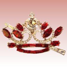 Fabulous CROWN Design Vintage Red Rhinestone Brooch