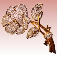 Fabulous NOLAN MILLER Rhinestone Flower Signed Estate Brooch