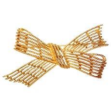 Fabulous TRIFARI Vintage Openwork Bow Design Brooch
