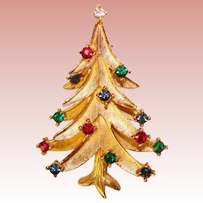 Fabulous TRIFARI Christmas Tree Colored Rhinestone Vintage Brooch