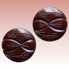 Gorgeous CARVED BAKELITE Pair of Large Vintage Estate Buttons - Chocolate Brown