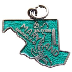 Sterling & Enamel MARYLAND Vintage Estate Charm - State Souvenir