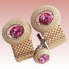 Gorgeous DANTE Pink Rhinestone Mesh Wrap Vintage Cufflinks Set - Signed
